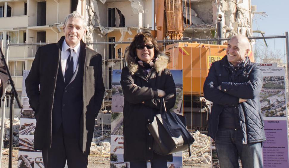 De gauche à droite : Philippe Saurel, maire de Montpellier et président d'ACM ; Claudine Frêche, veuve de l'ancien maire Georges Frêche et directrice d'ACM ; Robert Cotte, vice-président d'ACM. (Crédit photo : Richard Lacroix)