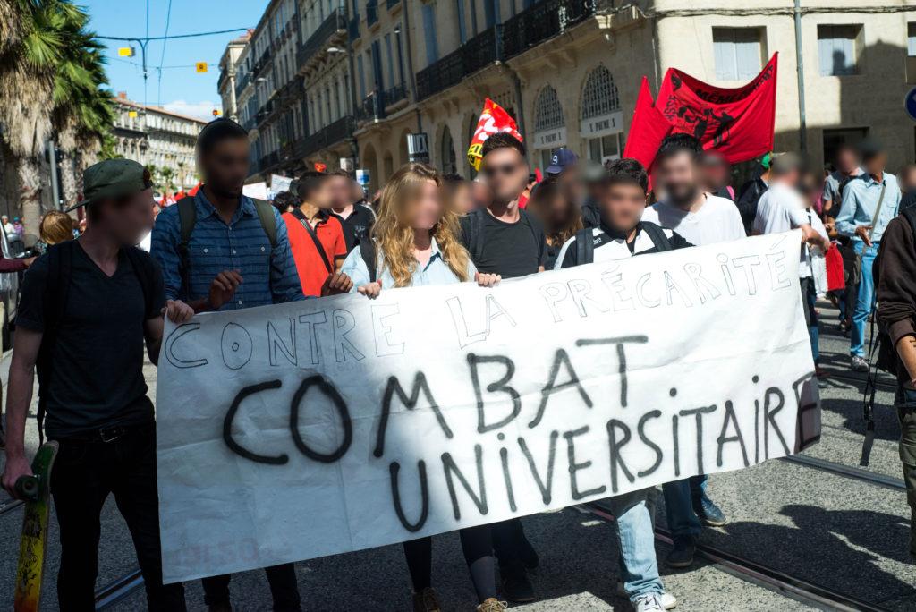 Les étudiants de Paul Valéry ont rejoint la manifestation après avoir bloqué l'université pendant une heure.