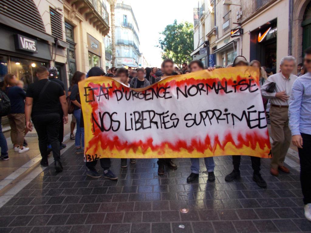 Manifestation contre la loi antiterroriste (banalisation de l'état d'urgence) à Montpellier le 7 octobre 2017
