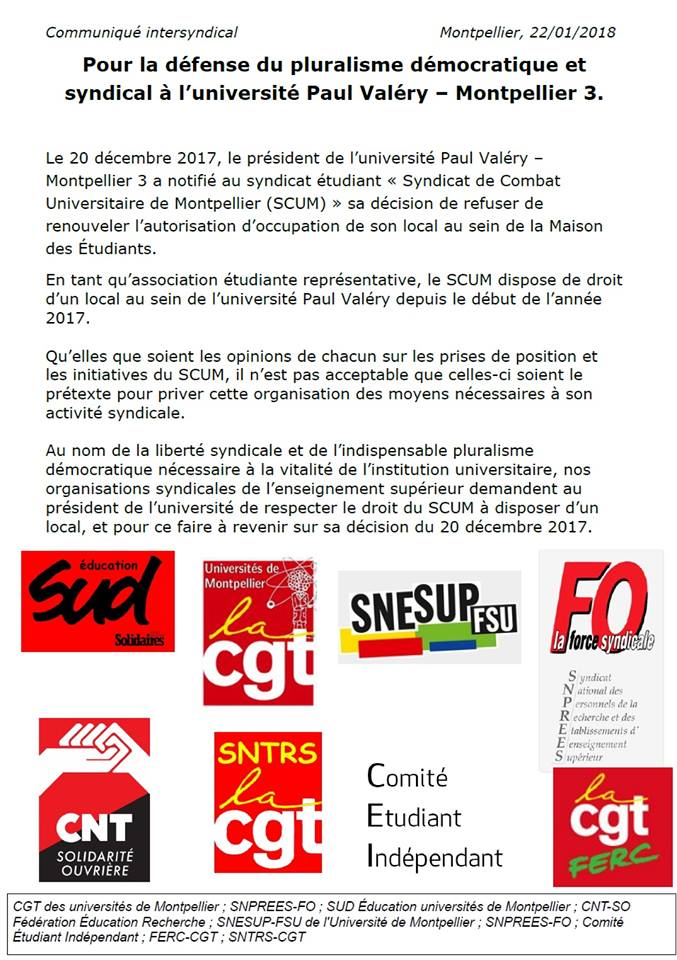 Occupation réquisition Paul Valéry Montpellier